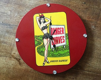 Pin up girl wall clock retro decor vintage 1950's rockabilly burlesque kitsch