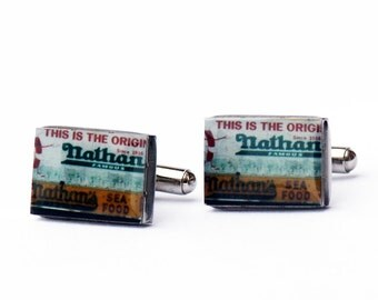CUFF LINKS- Nathan's Cuff Links, Coney Island Cuff Links, Cufflinks