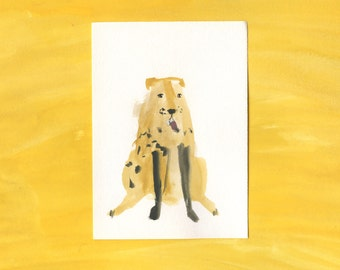 100 Hideous Hounds - No. 9 - Original Gouache dog painting