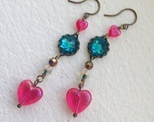 Neon Hearts Bright Pink heart beads and Swarovski crystals aqua blue green crystal earrings shiny sparkly love