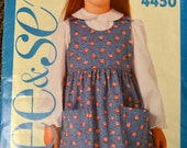 Vintage 80's Sewing Pattern See & Sew 4450 Girl's Jumper and Blouse Size 5-6x Complete Uncut