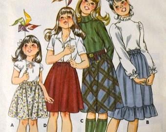 Vintage 80's Sewing Pattern Kwik Sew 1197 Girls' Skirts Size 8-14 Complete Uncut