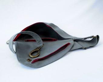 Belt Bag in Gray Cotton with Brassy Hardware : Fanny Pack, Hip Bag, Duck Cloth, Travel Bag, Festival Bag