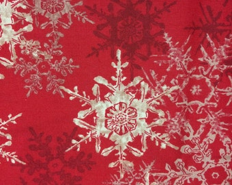 Christmas snowflake fabric - 1 2/3 yards - red