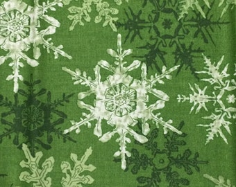 Christmas snowflake fabric - 1 yard - green - more available