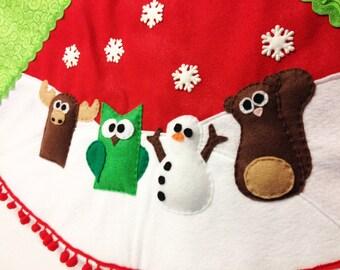 Tree Skirt, Christmas Tree Skirt, Swirly Gig, Green Swirls, Moose, Owl, Snowman, Squirrel, Keepsake