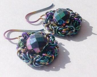 Planet Rainbow Niobium and Rainbow Hematite Chainmaille Earrings