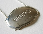 Whiskey Vintage Sterling Silver Decanter Label Charm Necklace