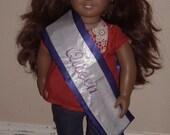 Purple satin doll sash, doll pageant sash