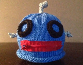 Robot Hat Halloween Costume Handknit Baby Infant Photo Prop Costume