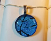 Basketball Necklace Pendant - Dichroic Fused Glass - carolina blue - Free Shipping