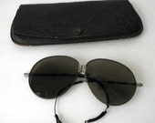 Victorian Sunglasses Folding Glasses Goggles Steampunk Embossed Leather Case CosPLay Costume AMAZING