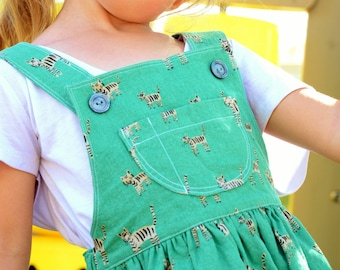 Little Tigers Overall Skirt for Girls Size 2 through 7 Made to Order
