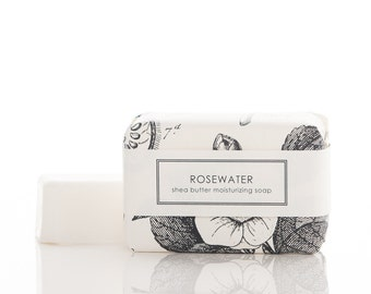 rosewater shea butter soap- delicate & pretty - large sized bar