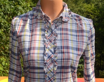 vintage 70's western blouse PLAID ruffle collar button down women's shirt Large Medium dig it
