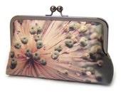 Clutch bag, silk purse, gift for her, flower seedhead pods, STARBURST ALLIUM