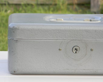 SALE Vintage gray metal toolbox
