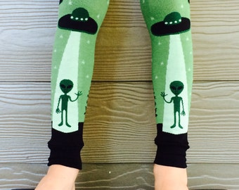 UFO and Alien Leg Warmers for Boys and Girls - Leggings for Kid, Infant, Baby, Toddler, and Tween - Great Baby Shower or Birthday Gift