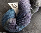 Lotus  SW Merino / Tencel grape/aquamarine fingering weight yarn