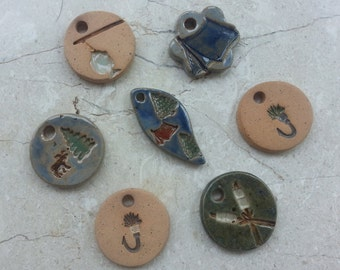 SPECIAL PRICE - 75% OFF - Small Stoneware Glazed Pottery Pendant Set no.43- Also great as Miniature Ornaments - Set of 7 - Camping & Fishing
