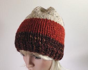 Hand Knit Hat Slouchy Hat Chunky Hat Women's Men's Hat Stripes BuckwheatPaprika Redwoods