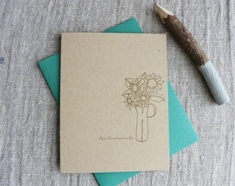 Letterpress Greeting Card - French Market - Sunflowers - FRM-175