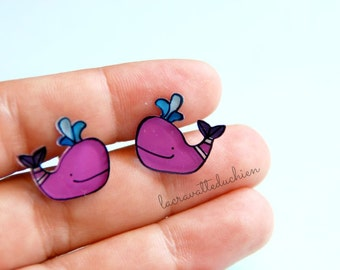 Purple whales stud earrings, purple whales, illustrated jewelry