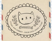 Cat Address Rubberstamp - Personalize Address Stamp - Custom Return Address Stamp