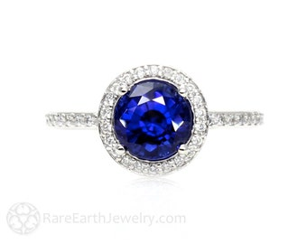 Blue Sapphire Engagement Ring Round Halo Diamond Sapphire Ring September Birthstone 14K 18K Gold or Platinum