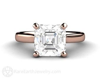 Asscher White Sapphire Engagement Ring White Sapphire Ring Solitaire Unique Engagement