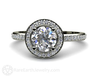14K White Sapphire Engagement Ring Round Halo Diamond Sapphire Ring Conflict Free