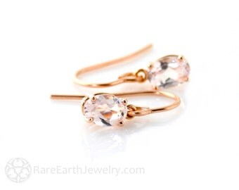 14K Rose Gold Earrings Rose Quartz Earrings Drops Dangles Custom Gemstone Earrings