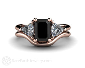 Black Diamond Wedding Set Engagement Ring 3 Stone Vintage Black Diamond Ring Unique Engagement 14K, 18K Gold Platinum or Palladium
