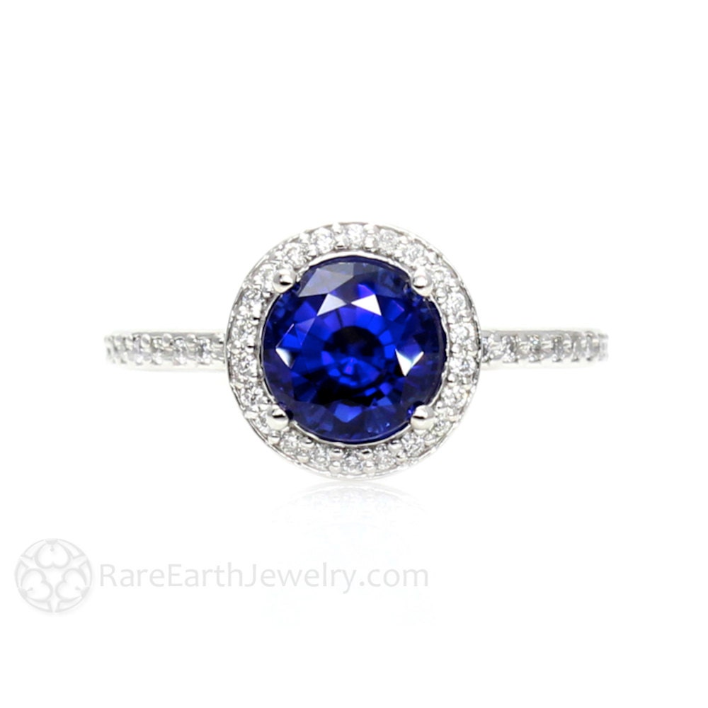 blue sapphire engagement ring round halo diamond sapphire ring. Black Bedroom Furniture Sets. Home Design Ideas