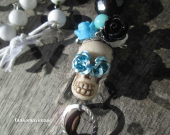 Day of the Dead sugar skull Turquoise charm necklace Mexican Skull Roses Assemblage necklace vintage California womens jewelry
