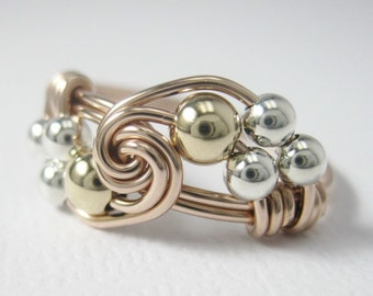 Mixed Metals Wire Wrapped Ring - 14k Rose and Yellow Gold-Filled and Sterling Silver Duet