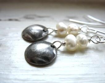 Pearl Earrings, Handmade Pearl Earrings, Metalwork Freshwater Pearl Dangle Drop Earrings, Pearl Disc Earrings, Pearl Jewelry