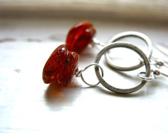 Amber Earrings, Handmade Amber Stone Silver Hoop Earrings, Baltic Amber Jewelry, Handmade Metalwork Artisan Jewelry, Amber Jewelry