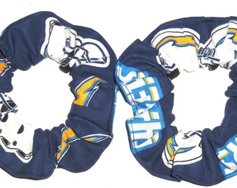2 San Diego Chargers Fabric Hair Scrunchie NFL Football Ties Ponytail Holders Scrunchies by Sherry
