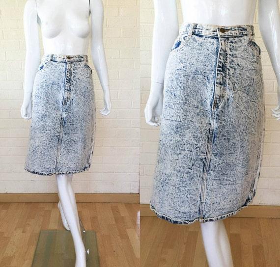 80s vintage acid wash denim blue jean skirt m to l