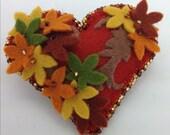 Falling leaves felt heart brooch/pin