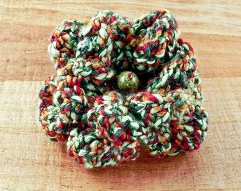 Green Crochet Flower Brooch - Avocado Green Crochet Flower Pin