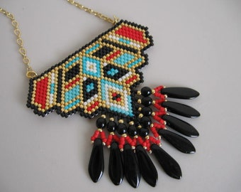 Native American Inspired Beadwoven Pendant - Copyright 2015 - Patti Ann McAlister.