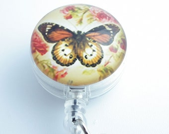 Butterfly and Roses Badge Holder -  Glass Dome, Retractable Badge Reel, Name Badge Holder 219