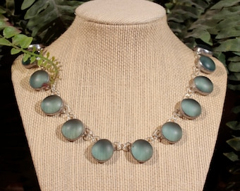 Frosted Blue Stained Glass Collar Necklace