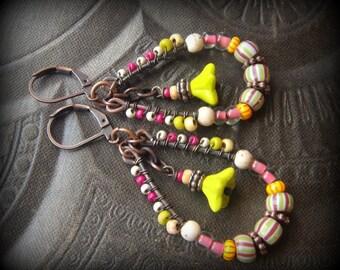 Boho, Hoops, Colorful,Tribal, African Beads, Flowers, Copper, Organic, Rustic, Primitive, Weaved, Beaded Earrings