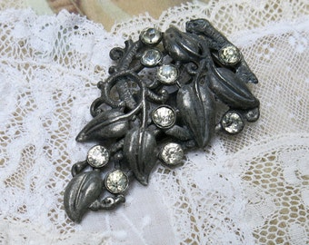 Large Antique Pot Metal & Rhinestone Dress Clip ... Early 1900s Vintage Dress Clip, dark patina