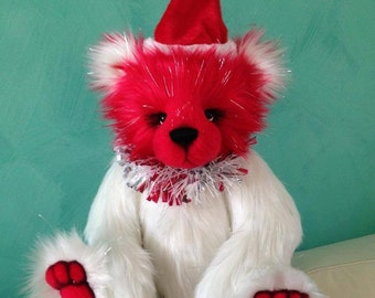 Christmas Bear KIT - Huge 18IN jointed sparkle faux fur artist bear kit