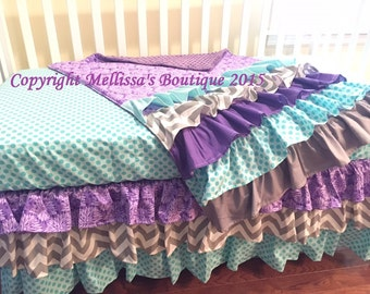 Custom Designer Purple Aqua & Grey Posh 3 Tier Ruffled Crib Skirt and Ruffled Blanket Lux Crib Bedding Set MADE To ORDER