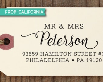 Mr & Mrs ADDRESS STAMP with proof from USA, Eco Friendly Self-Inking stamp, return address stamp, custom stamp, custom address stamp 212